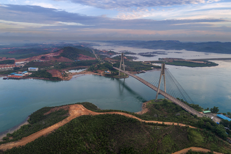 Aerial view of Barelang Bridge connecting Batam Islands at sunrise, Indonesia