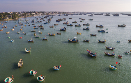 Fishing village in Mui Ne Vietnam and their unique basket boats