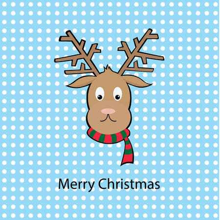 christmas deer with dot background 向量圖像