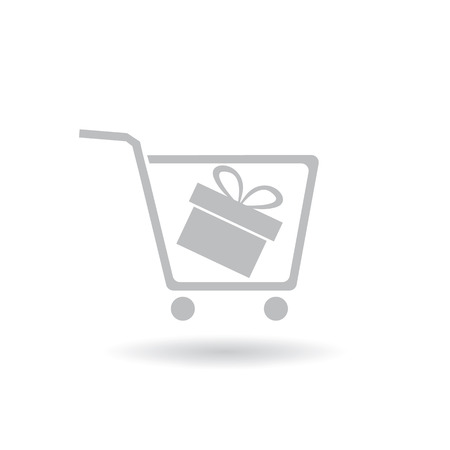 shoping: shoping cart icon vector with gift box inside Illustration