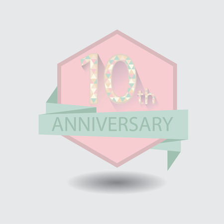 10th anniversary badge vector illustration