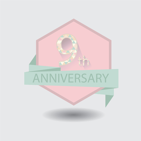 9th: 9th anniversary badge vector illustration