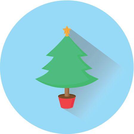christmas tree flat design icon
