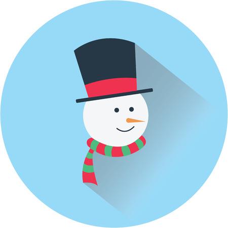 snowman christmas flat design icon Çizim