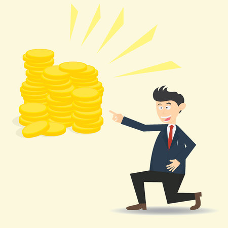 Male businessman showing the way to get money cartoon vector illustration