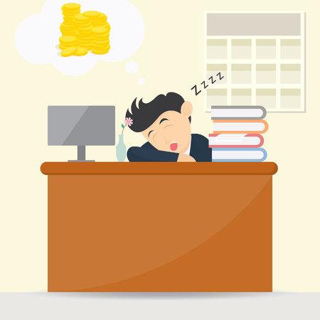 Male businessman sleeping at work and dream get money cartoon vector illustration Illustration