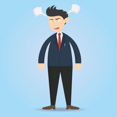 Angry male businessman character expression cartoon vector illustration