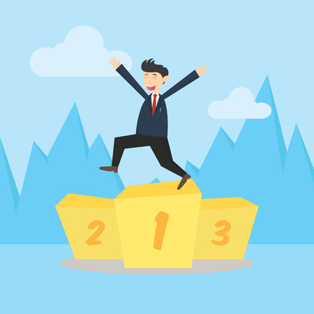 recompense: Businessman standing on the first podium to celebrate victory carton vector illustration