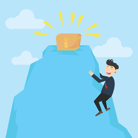 businessman climb of the cliff to get treasure box cartoon vector illustration