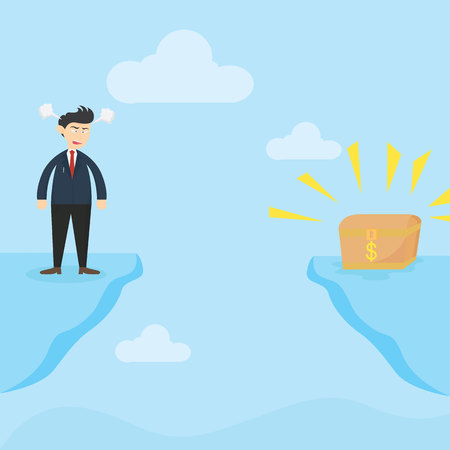angry businessman standing on the edge looking for treasure box cartoon vector illustration