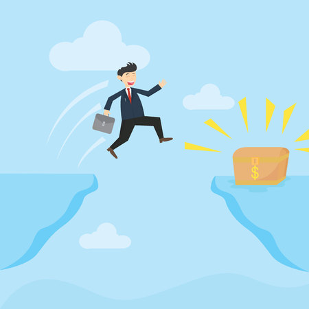 businessman jumping to the treasure box in the edge of a abyss cartoon vector illustration Illustration