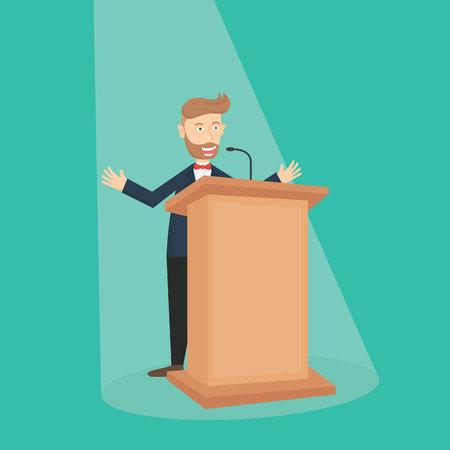 caucasian hipster businessman talking on the podium with spot light cartoon vector illustration