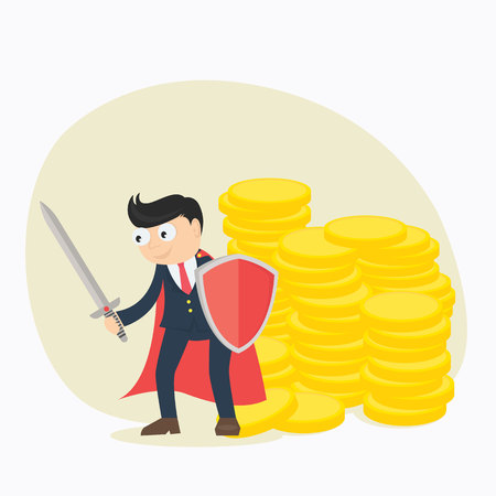businessman protect money from debt and tax with sword and shield cartoon character vector illustration Illustration