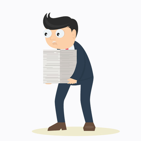 businessman work overtime with pile of paper cartoon vector illustration