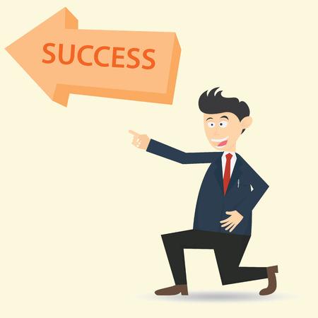 Homme d & # 39 ; affaires montrant la façon pour obtenir le succès dessin animé illustration vectorielle Banque d'images - 81126471