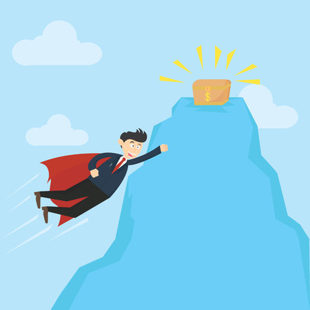super businessman flying in the sky with red cape to get treasure box cartoon vector illustration Illustration