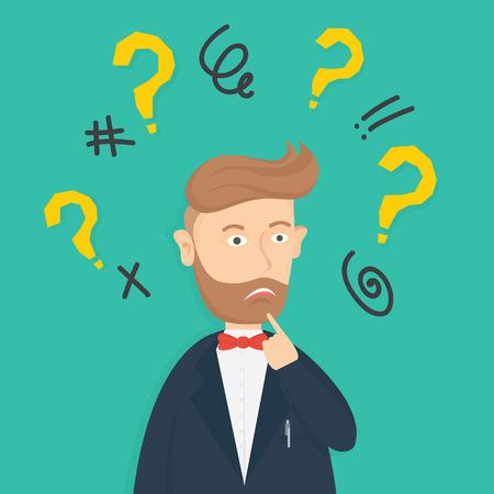 confused caucasian hipster businessman under mark question cartoon vector illustration Illustration