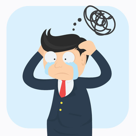 confused crying businessman cartoon vector illustration