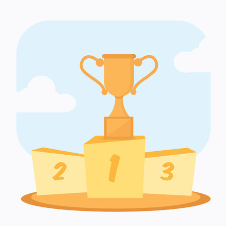 trophy cup prize goblet on first podium cartoon vector illustration