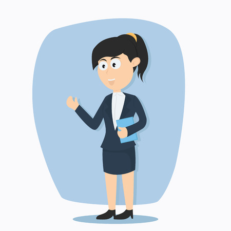 young business woman character cartoon vector illustration Illustration
