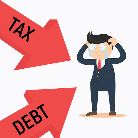 heavy risk: businessman crying frustated debt and tax cartoon vector illustration Illustration