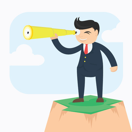 businesman with telescope looking for vision cartoon vector illustration
