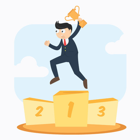 victor: happy smiling businessman with trophy winner on first podium cartoon vector illustration Illustration