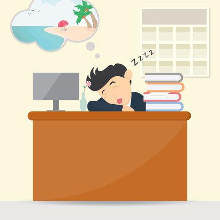 male businessman sleeping at work and dream vacation cartoon vector illustration Illustration