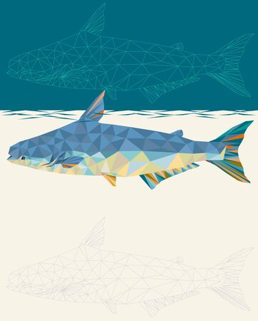 Giant Mekong Catfish in geometric polygon vector illustration style