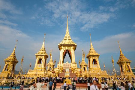 BANGKOK, THAILAND - NOV 1, 2017: REHEARSAL VISIT: Royal Crematorium for His Majesty King Bhumibol Adulyadej, the late King of Thailand. And Royal Crematorium exhibition to open on Nov 2. Editorial