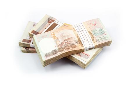 타이 국왕 Bhumibol Adulyadej의 이미지와 함께 태국 은행권. 1,000 바트 스톡 콘텐츠