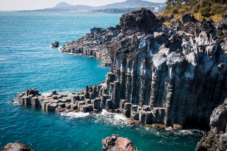 Jungmun Daepo Coast & Jusangjeolli Cliff Stockfoto
