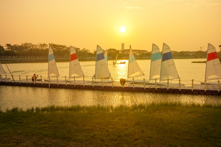 Sunset at windsurfing port Фото со стока