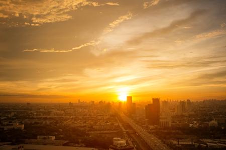 Sunset at Bang Na district, eastern of Bangkok, Thailand. Фото со стока