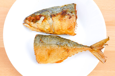 Fried Mackerel with top view and cut into two pieces 版權商用圖片