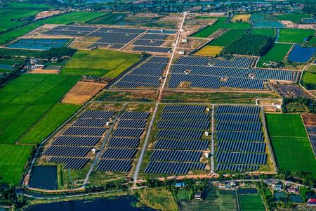 Aerial Solar Farm in Nakorn Phatom, Thailand Stock Photo