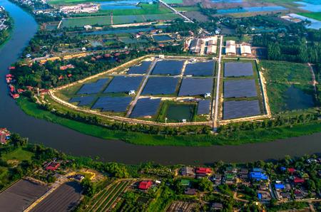 solar farm: Solar farm, solar panels aerial photo