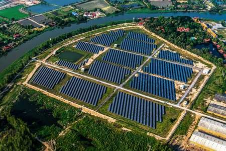 Aerial Photography of Solar farm, solar panels