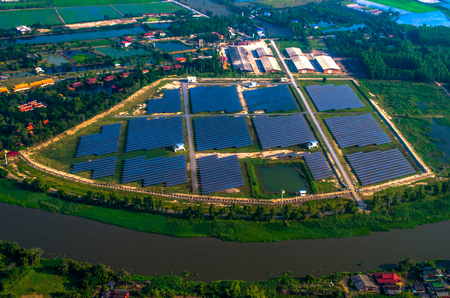 solar farm: Aerial Photo of Solar farm, solar panels