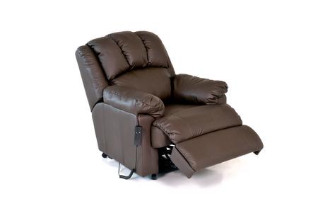 silla: Marrón silla de cuero reclinable