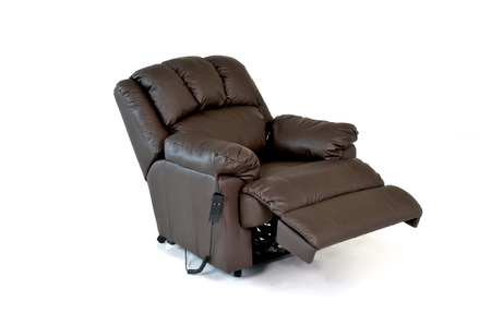 reclining chair: Brown reclining leather chair Stock Photo