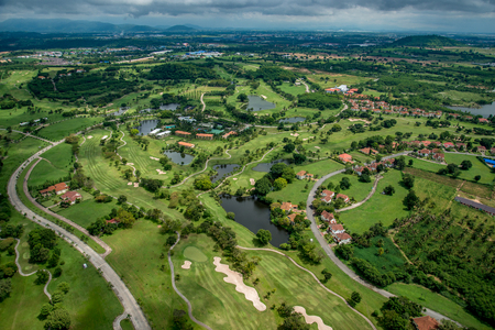 Golf course club aerial photography in Thailand
