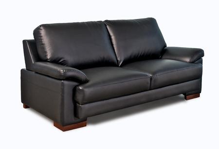 luxurious sofa: Black leather sofa isolated on white background