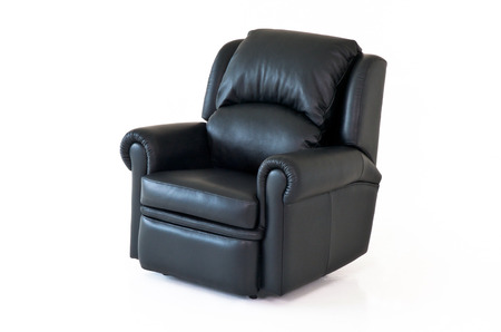 recliner: Black reclining leather chair on white background Stock Photo