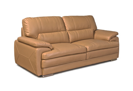 brown leather sofa: Light brown leather sofa isolated on white background