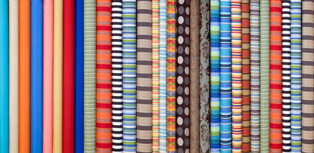 Fabric in rolls, many designs and colors Banque d'images