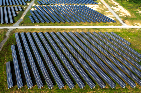 solar farm: Solar farm, solar panels aerial view