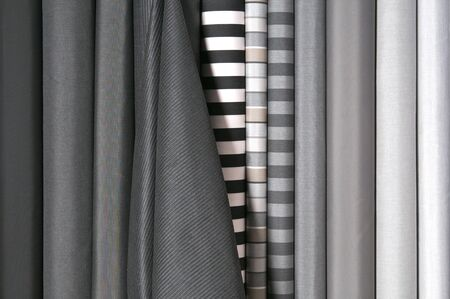 Black and white fabric in rolls