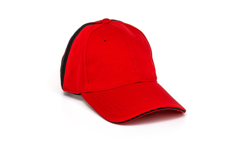 golf cap: Mens red golf cap on white background Stock Photo