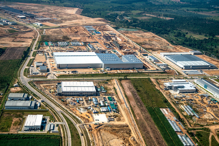 Industrial estate land development aerial view 스톡 콘텐츠